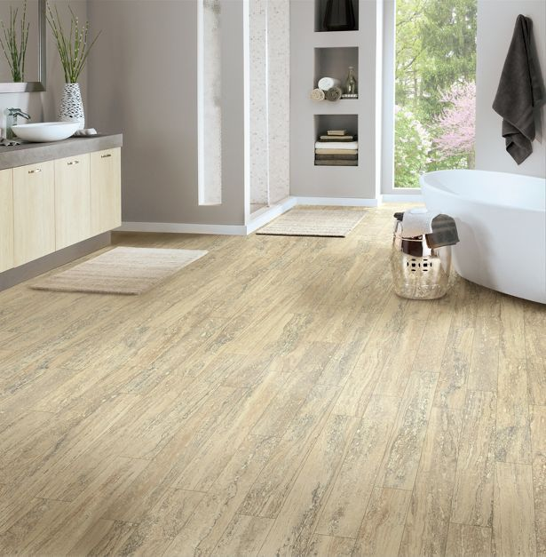 French Country Bathroom Flooring: Armstrong's New CushionStep Vinyl Flooring Features A