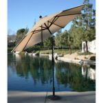 9 Market Umbrella Beige Sunbrella Fabric Costco 119 99 Base