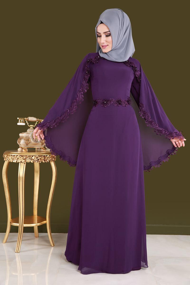 4741b538ba450 YENİ ÜRÜN ** Gül Güpürlü Tesettür Elbise Mor Ürün Kodu: ALM3024 --> 129.90  TL