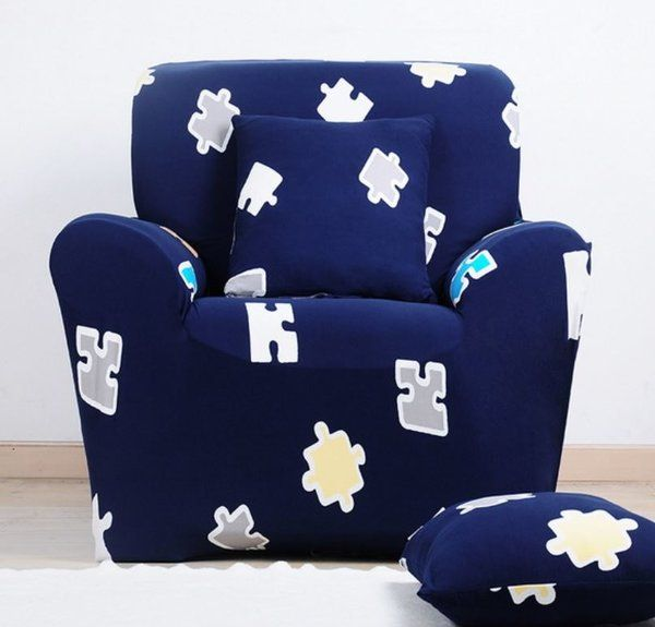 Blue Puzzle Couch Sofa Cover Boys Room Nursery Brainy Baby Boys