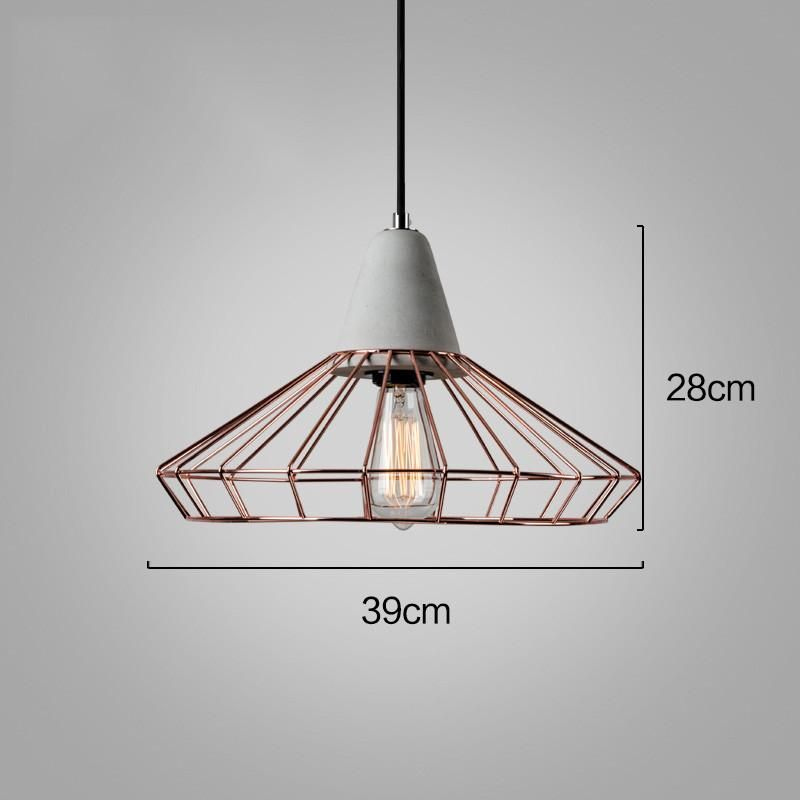 Sangkar Rose Copper Gold Cage Pendant Light With Concrete Base Cage Pendant Light Pendant Light Copper Lighting