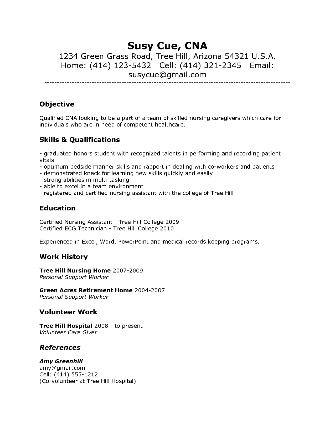 Resume Sample. Cna Job Duties Resume Resume Sample