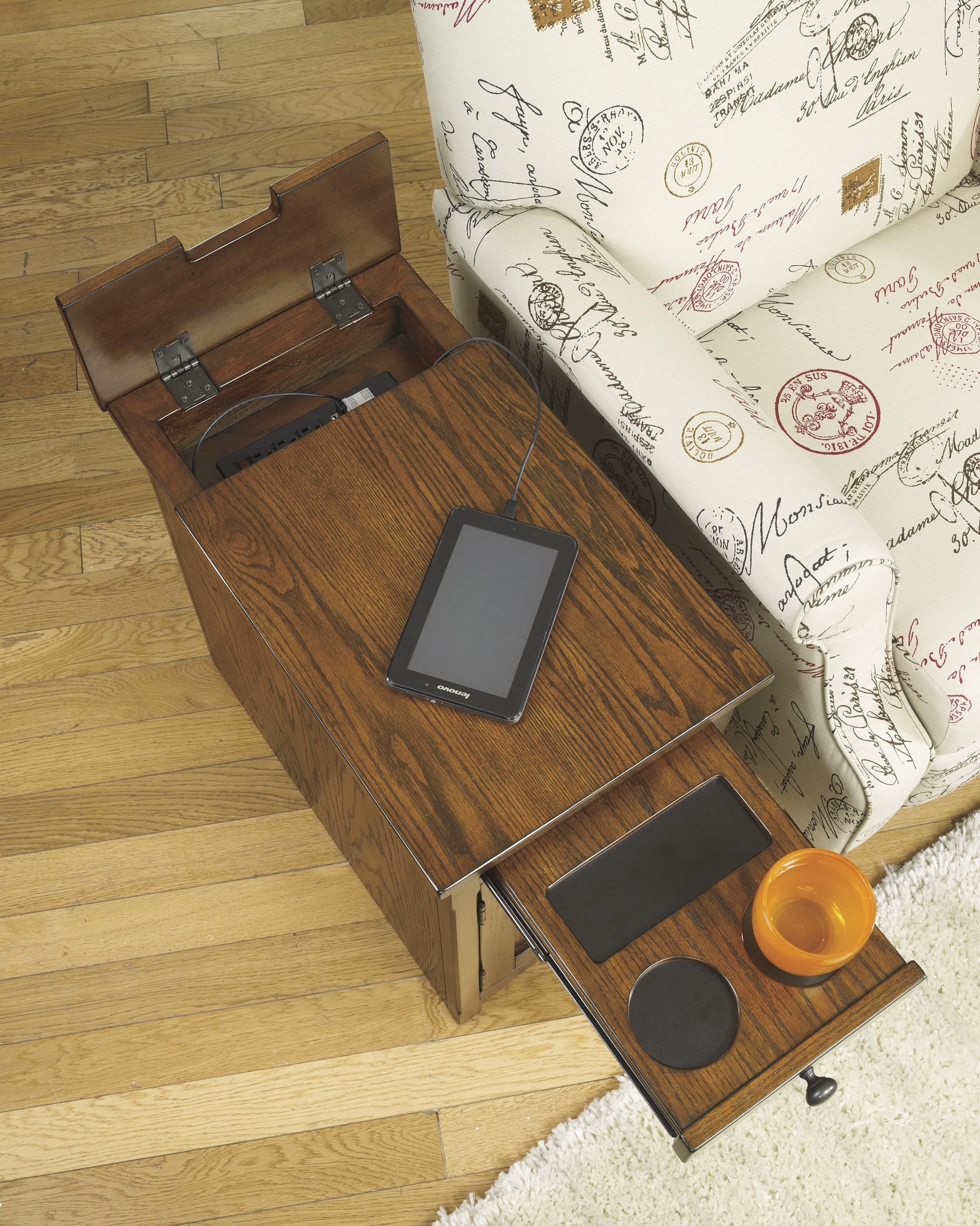 Laflorn Chairside End Table With Power Outlets Pull Out Shelf By