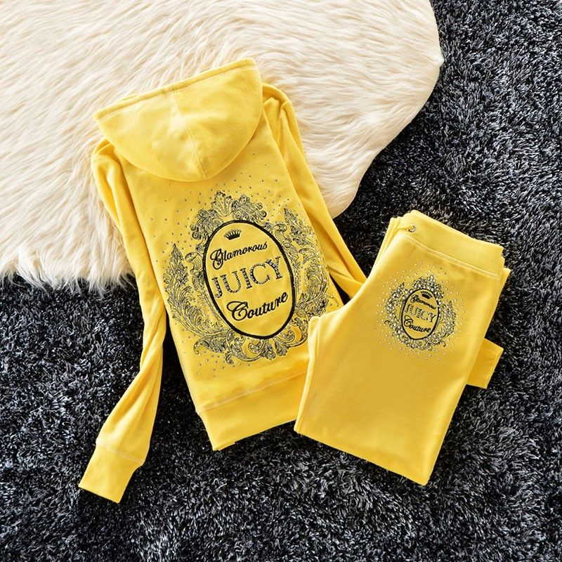 Juicy Couture Studded Logo Bright Crown Velour Tracksuit 6128 2pcs Women Suits Yellow Juicy Couture Suits For Women Women Pants Casual