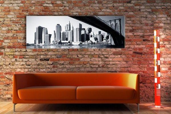 toile photo panoramique 3 1 le pont de brooklyn avec. Black Bedroom Furniture Sets. Home Design Ideas