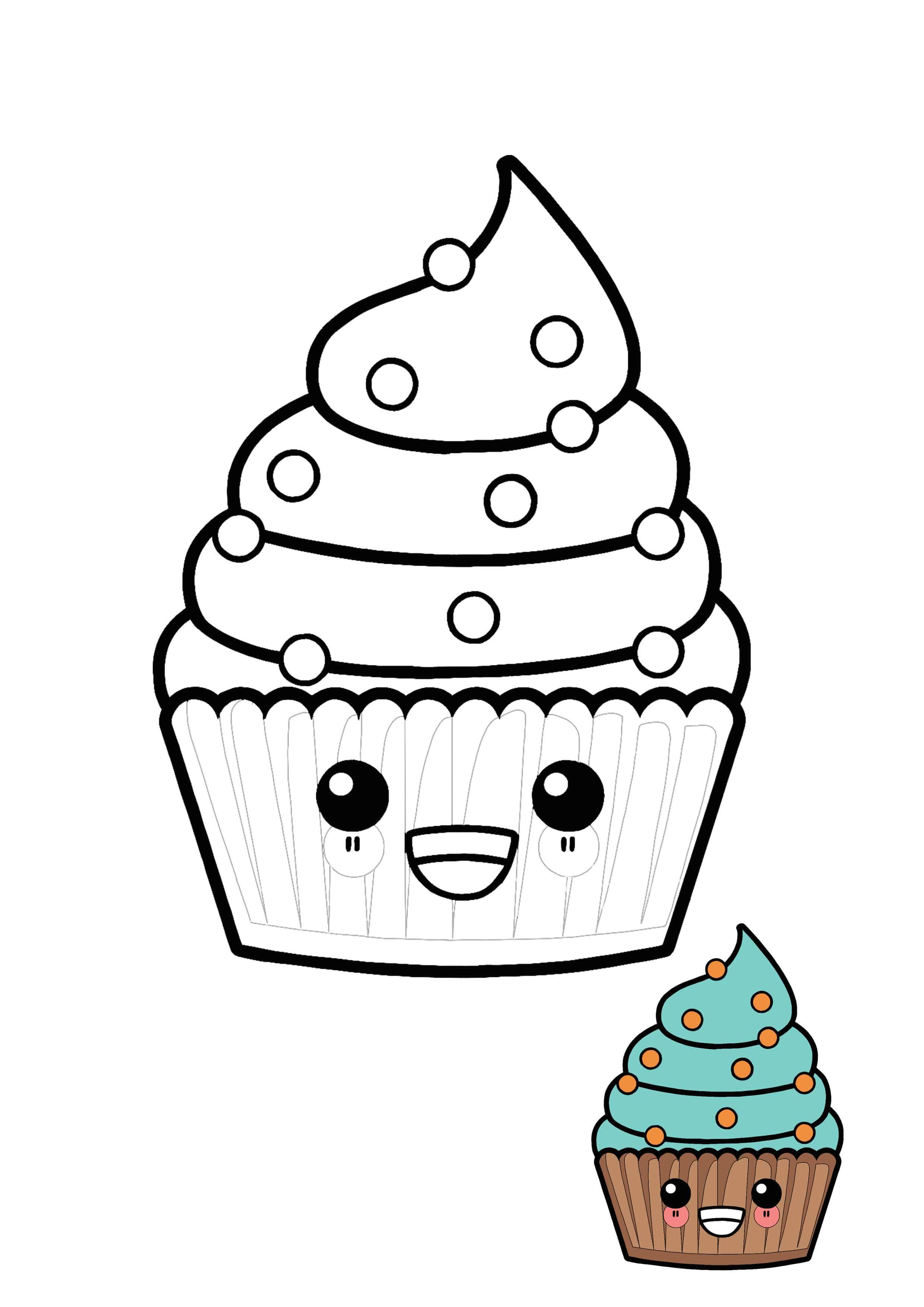 Cute Kawaii Cupcake Coloring Page In 2020 Cupcake Coloring Pages Coloring Pages Free Printable Coloring Pages