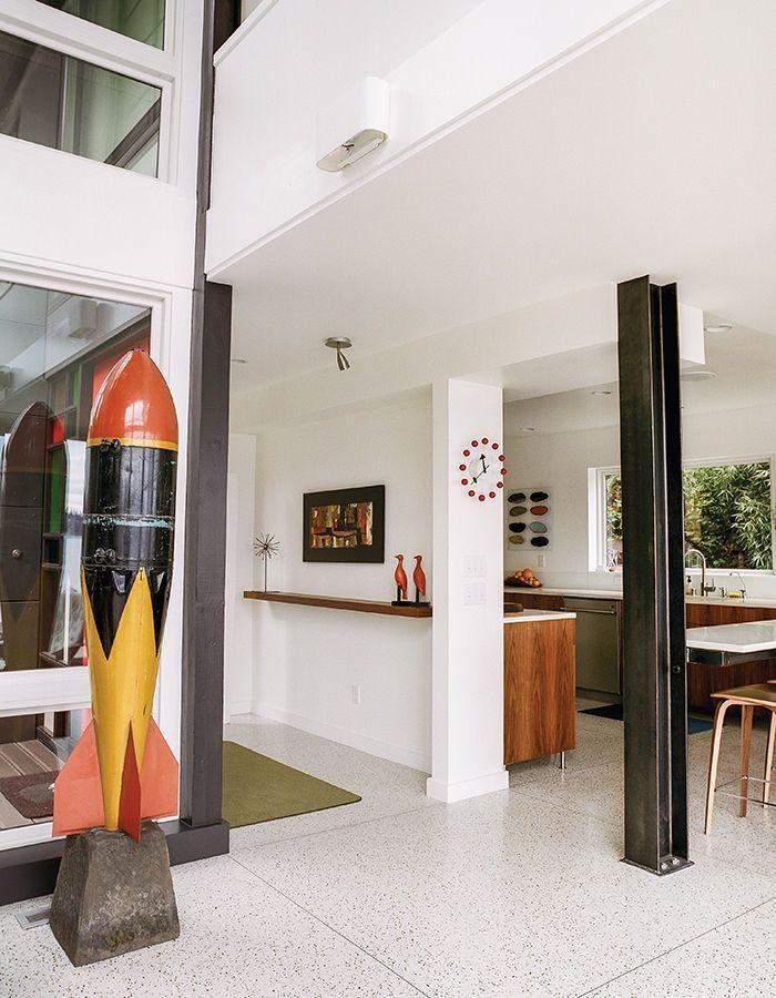Modern Renovation Aqua Lair Entrance Living Area I Beam Terrazzo Flooring