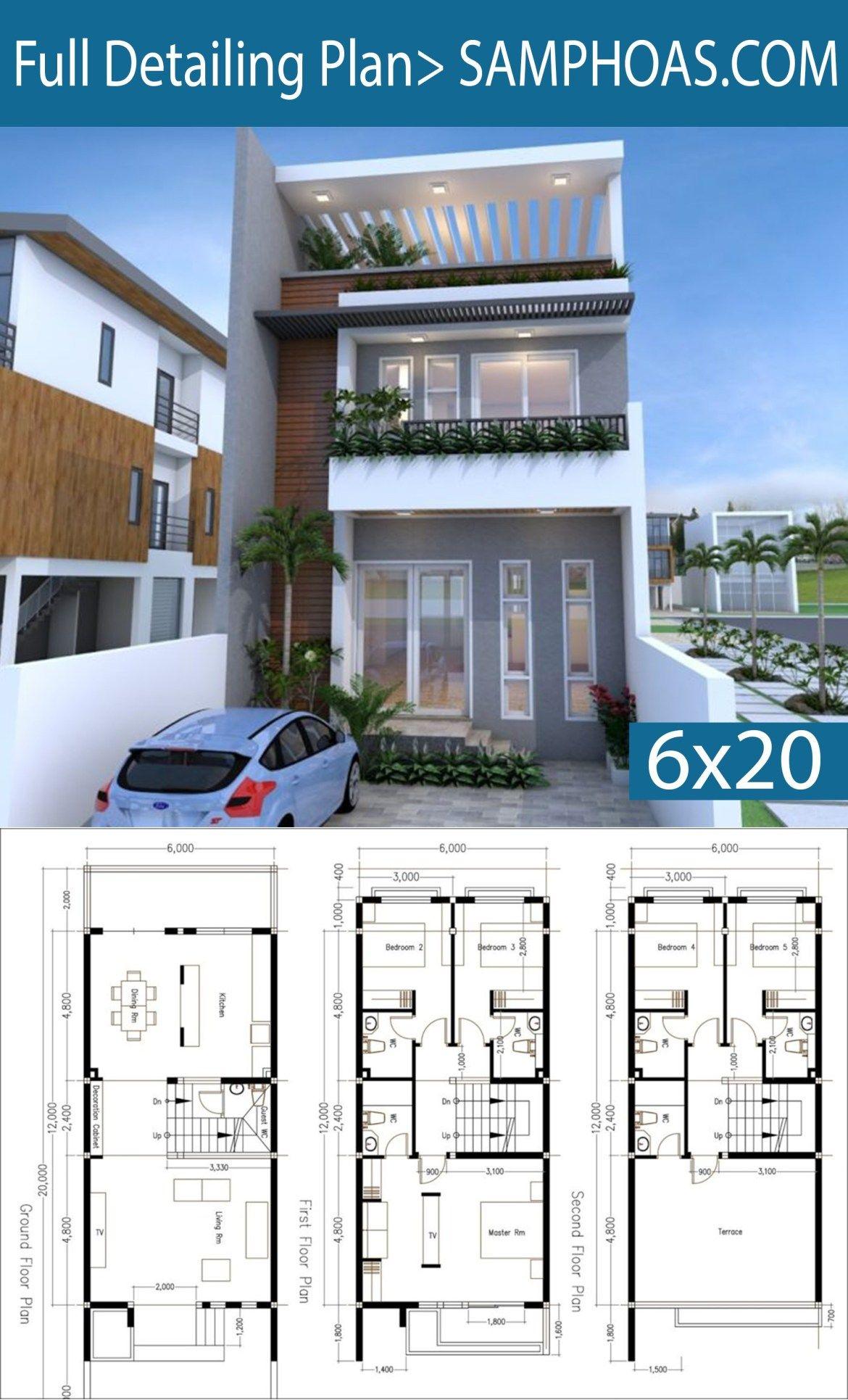 5 Bedrooms Modern Home Plan 6x12m Samphoas Plansearch Narrow House Plans Model House Plan Modern House Plans