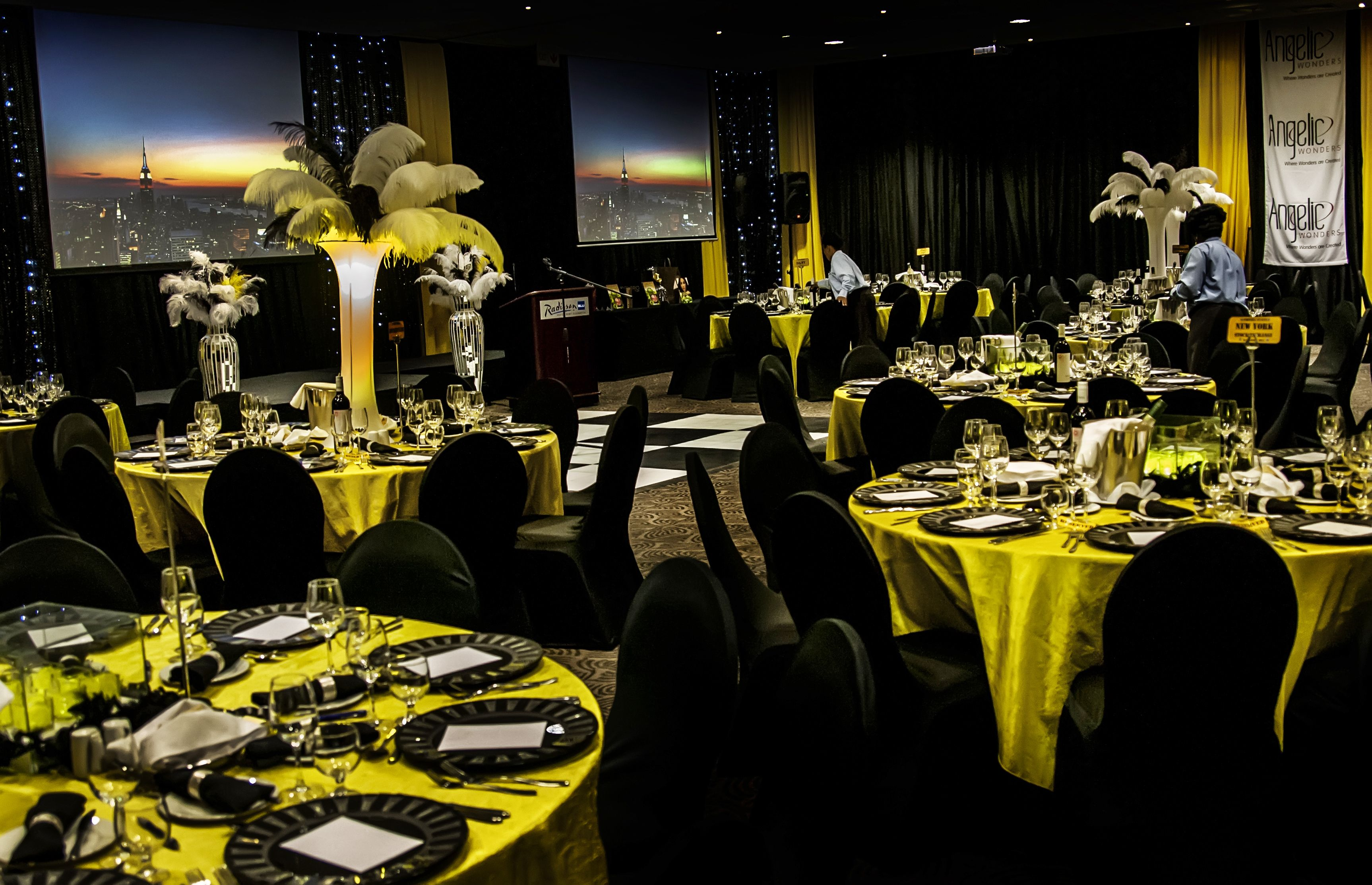 "O What a night "" An amazing gala dinner Our yellow black decor"
