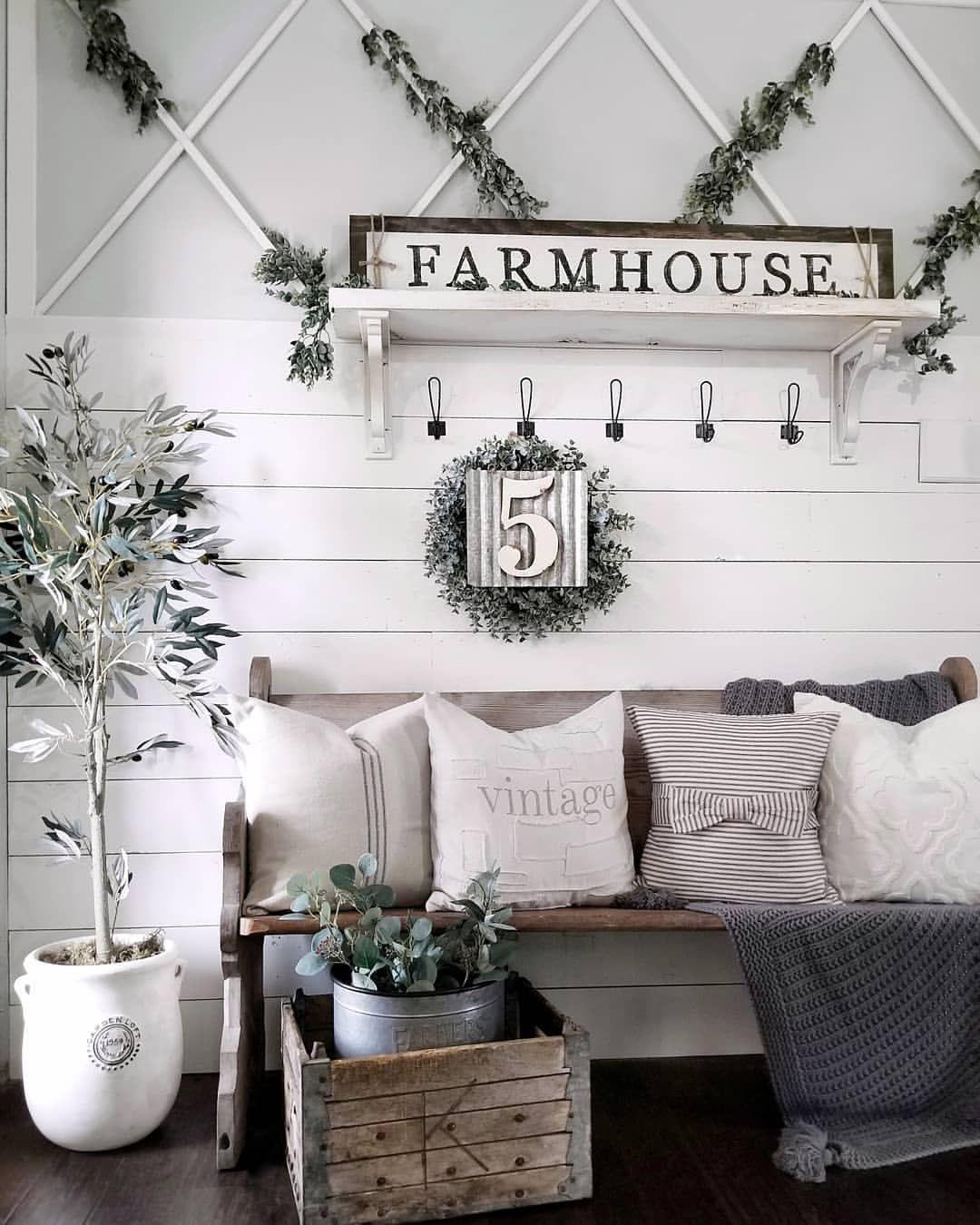 Happy Sunday! I had fun creating this farmhouse entry. Shiplap ...