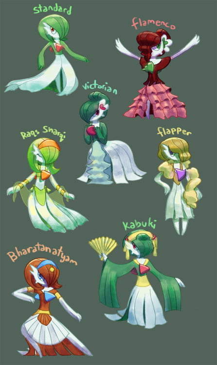 hauntedsketchbook:  Back at it again with more pokemon variants! Gardevoirs based (mostly) on various dance styles! Gosh Pokemon are so fun to practice character design skillz on I highly recommend it..