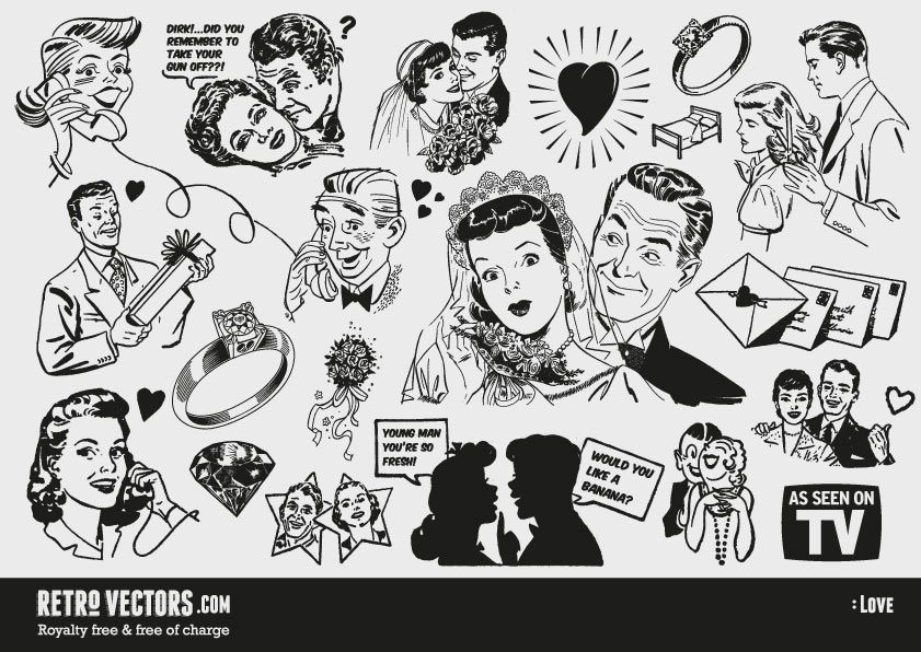 Free '50s Love themed clipart | Vintage Vectors | Royalty Free ...