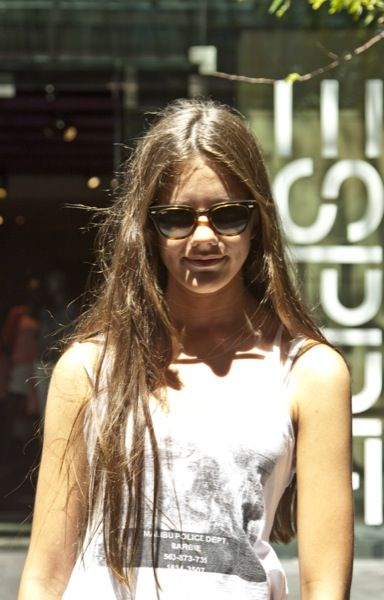 rb4168  Zoe Iron wearing Ray-Ban RB4168 Meteor 710 H sunglasses in Sydney ...