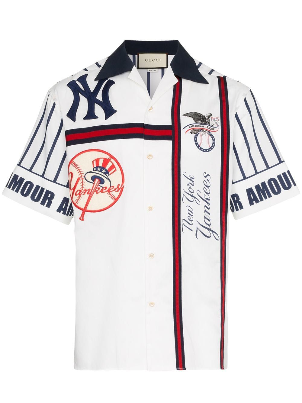 Gucci Ny Yankees Embroidered Cotton Bowling Shirt In Blue Modesens Bowling Shirts New York Yankees Shirt Bowling Outfit