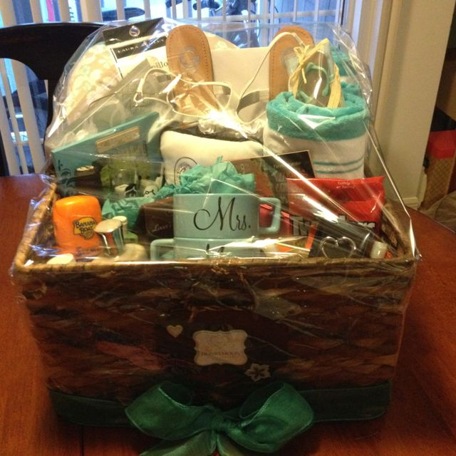 honeymoon basket i made for my cousin s bridal shower gift ideas