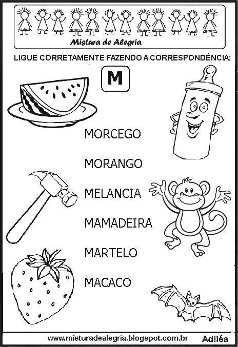 sequ c3 aancia atividades correspond c3 aancias desenhos letra m