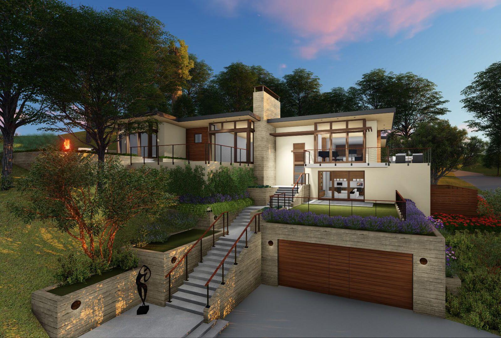 Modern Hillside House Garage Modernes Haus Aussen Haus