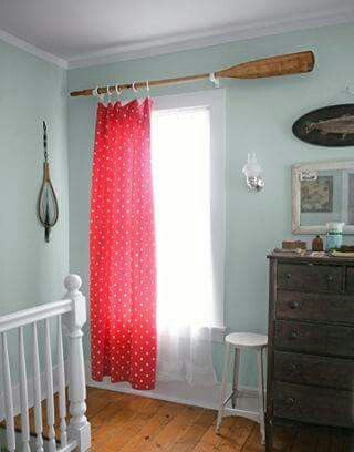 Oar Used As Curtain Rod Perfect For Nautical Office With Images