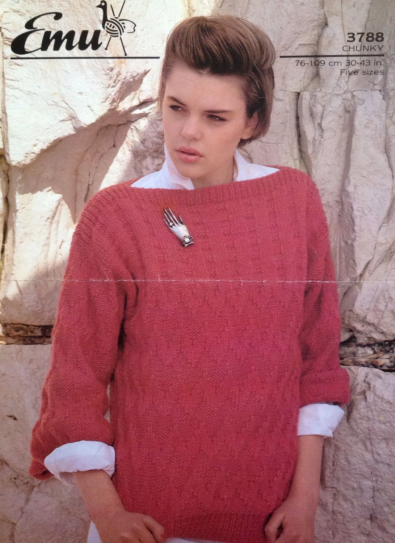 dd07d375da21ca Ladies Chunky Slash Neck Knitting Pattern Size 30-43in 76-109cm by  makenshare on Etsy
