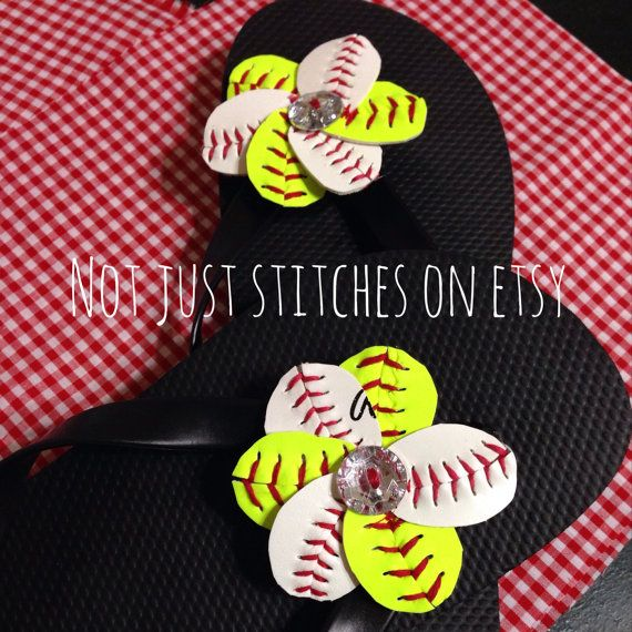 9f7acfce1 Baseball and Softball Flip Flop Flowers Set