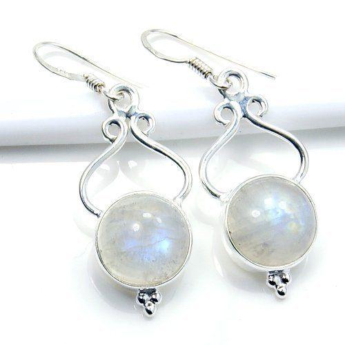 'Full Moon' Sterling Silver Moonstone Dangle Earrings  Price : $39.95 http://www.silverplazajewelry.com/Sterling-Silver-Moonstone-Dangle-Earrings/dp/B00HDOZRXG