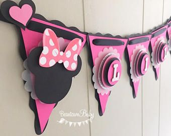 Minnie Mouse Birthday Banner 1st Pink And Black Baby Shower Oh Twodles