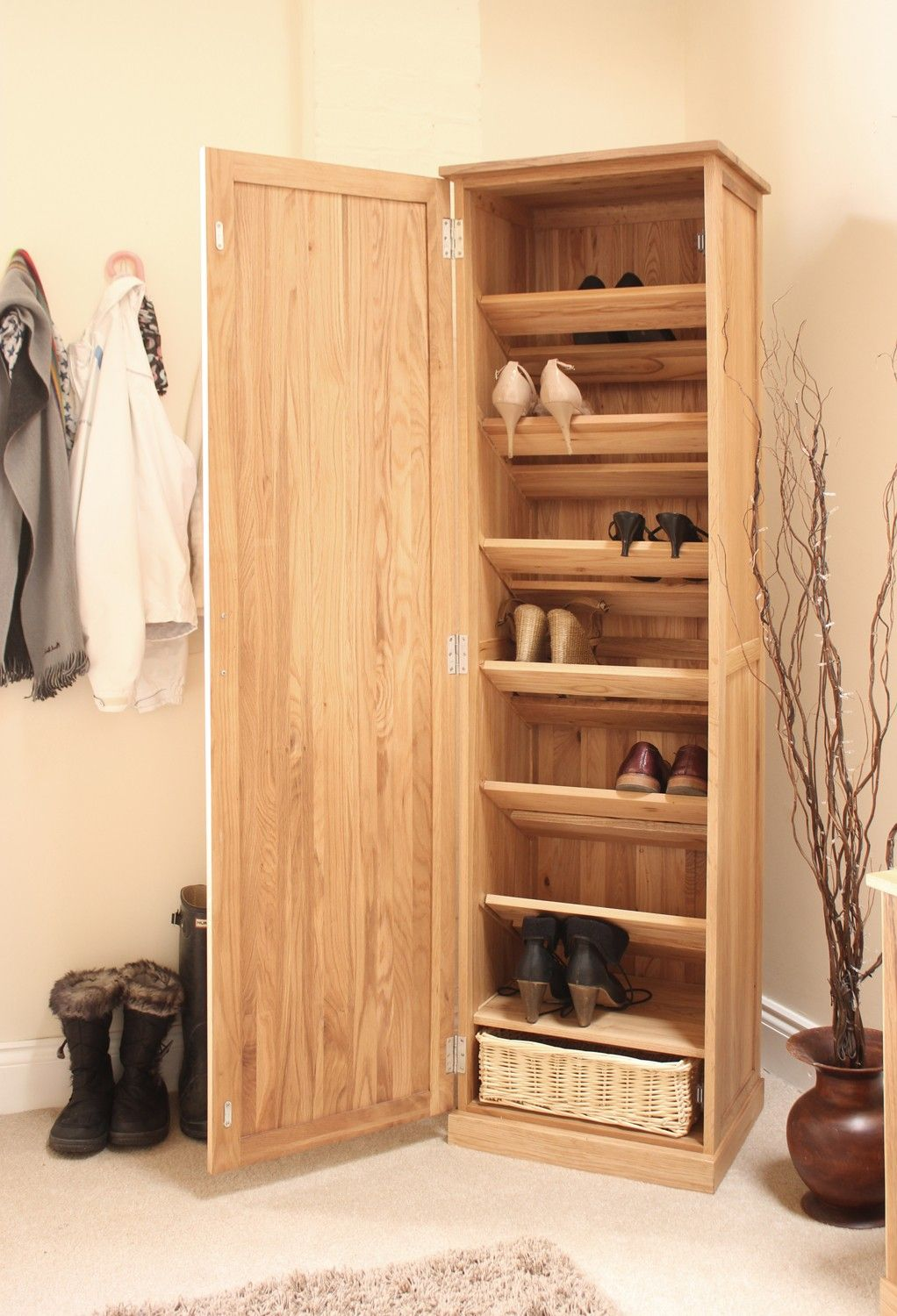 new for 2104 the mobel oak tall shoe cupboard perfect hallway storage