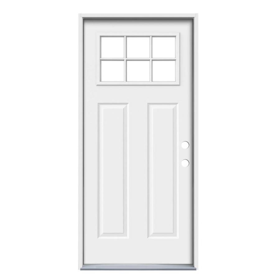 Reliabilt 1 4 Lite Simulated Divided Light Right Hand Inswing Primed Steel Prehung Entry Door Solid Core Common 36 In X 80 In Actual 37 438 In X 81 75 In L Entry Doors Reliabilt Jeld Wen