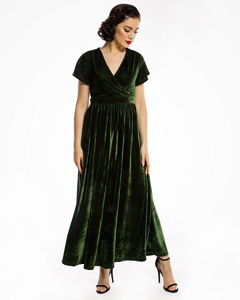 Aisling Green Velvet Maxi Dress Vintage Inspired Dresses Lindy Bop Green Velvet Wedding Dress Green Velvet Dress Vintage Velvet Dress [ 1000 x 800 Pixel ]