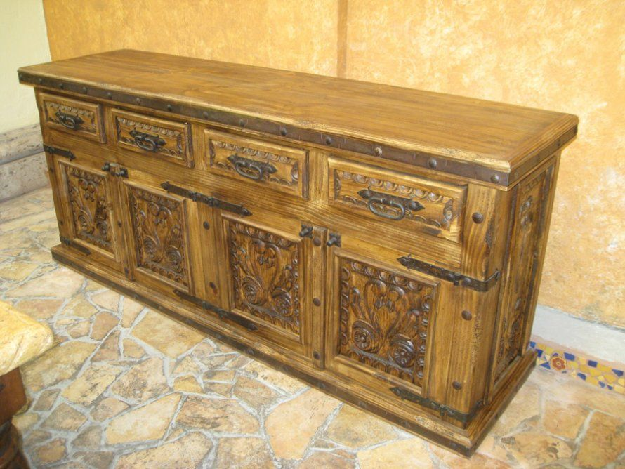 Rustic Dining Room Buffet And Buf 001 Carved Spanish Buffet 7ft W X 20 D X  40 H 890