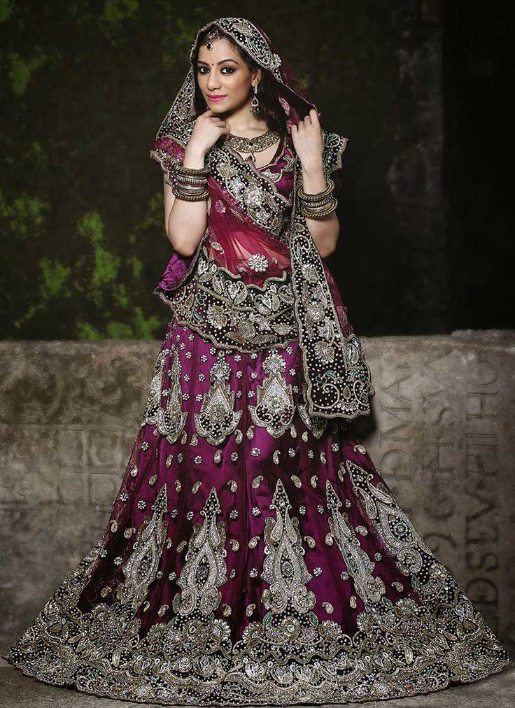 Purple lehenga, purple chaniya choli, purple indian bridal, purple ...