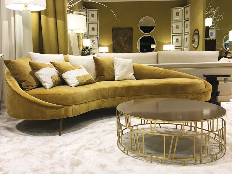 Round Metal Coffee Table With Brass Cutwork Modern Curved Sofa Round Metal Coffee Table Curved Sofa