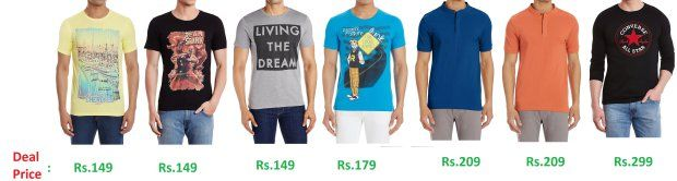 Amazon  Flat 70% off on Mens Branded T-shirts