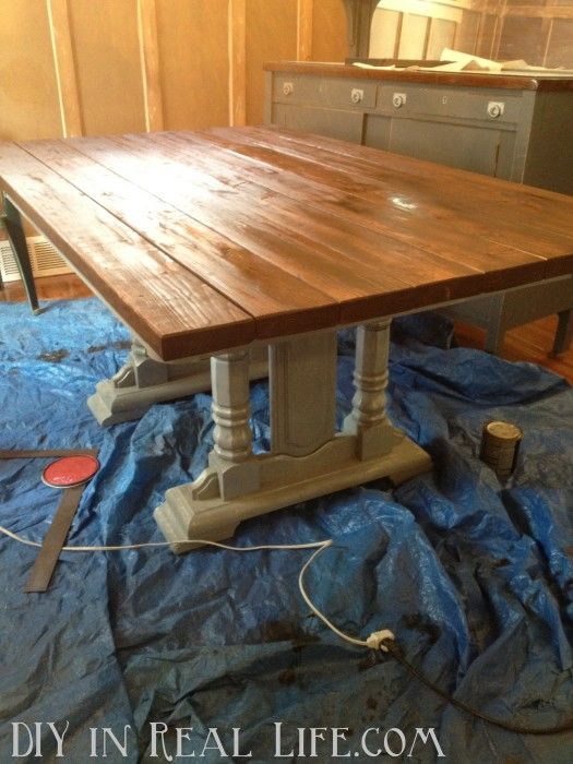 Inexpensive Dining Room Table Re Do By DIY In Real Life.com   Our