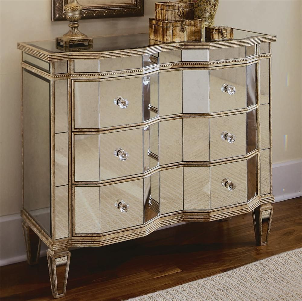Chests And Consoles Mirrored Chest With 3 Drawers By Hooker Furniture