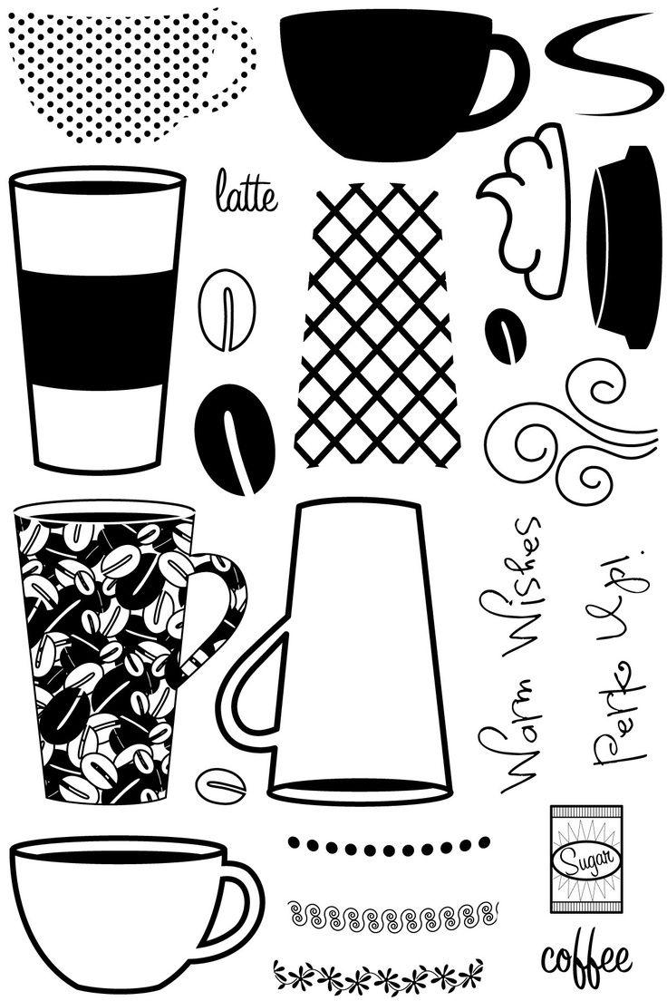 Cute coffee cups. Silhouette กาแฟ