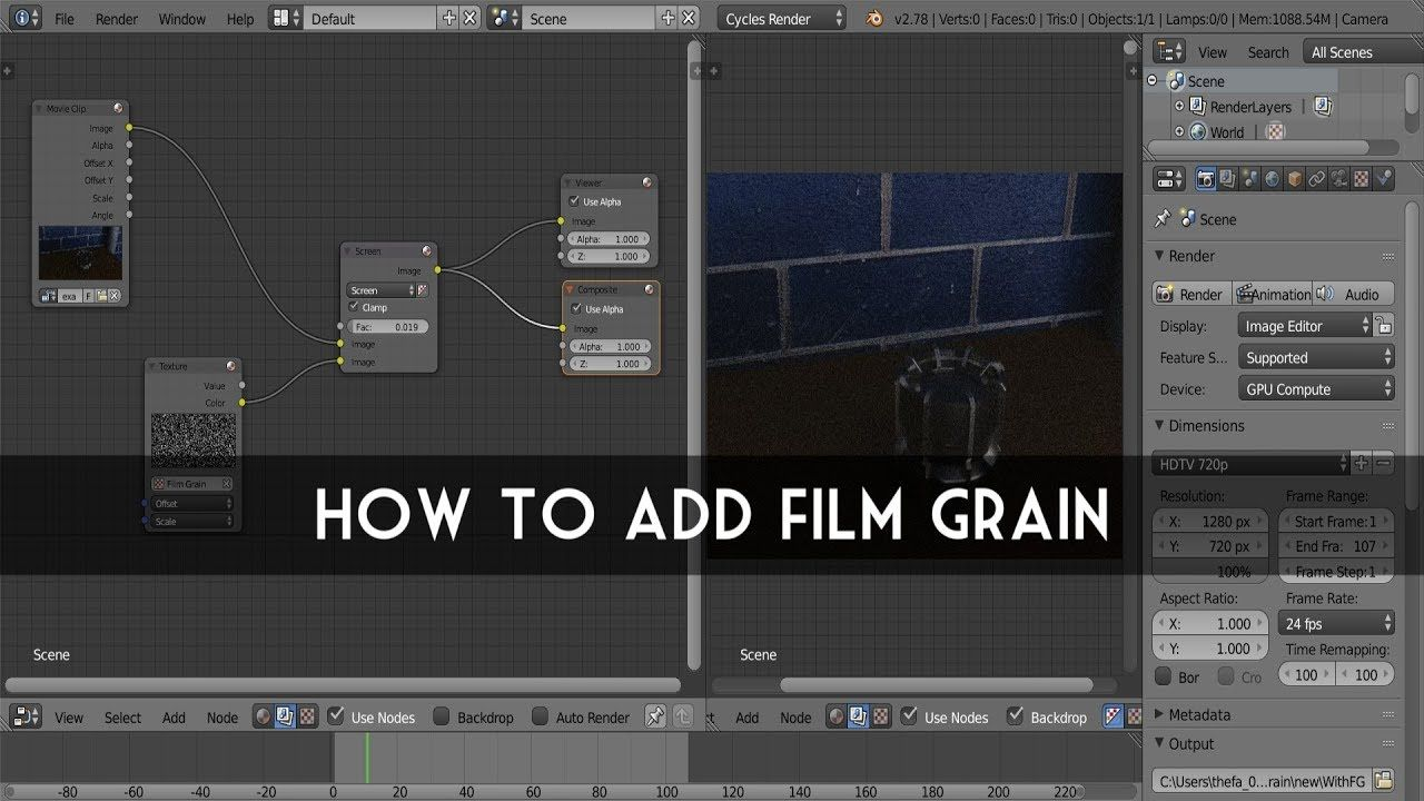 Blender Tutorial How To Add Film Grain Quick Tip Blender Tutorial Tutorial Blender 3d