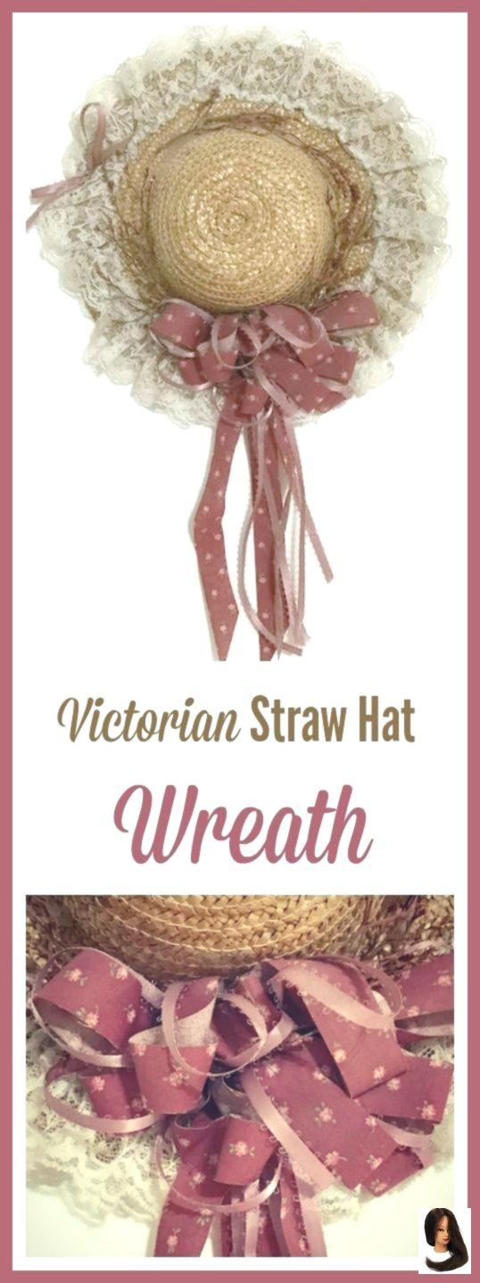 Viktorianischer Strohhutkranz für Haustüren aus Stroh, Bändern, getrocknetem #victorianfrontdoors