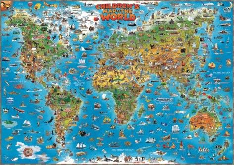 Childrens Map Of The World Educational Poster Kids Rooms Room - World map for playroom