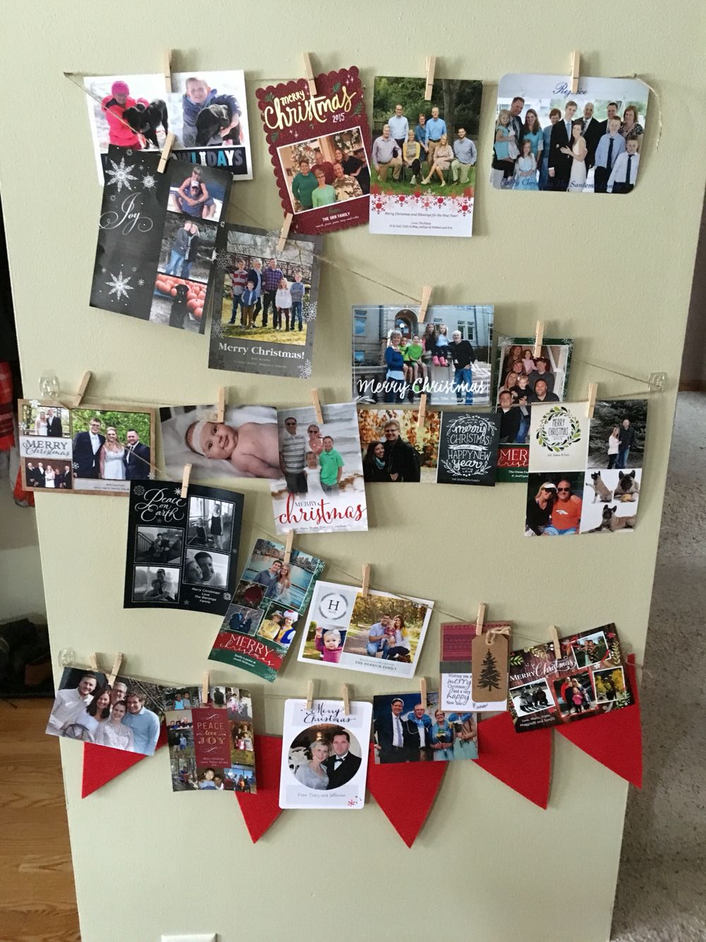 Cute way to display Christmas cards! Everything was bought