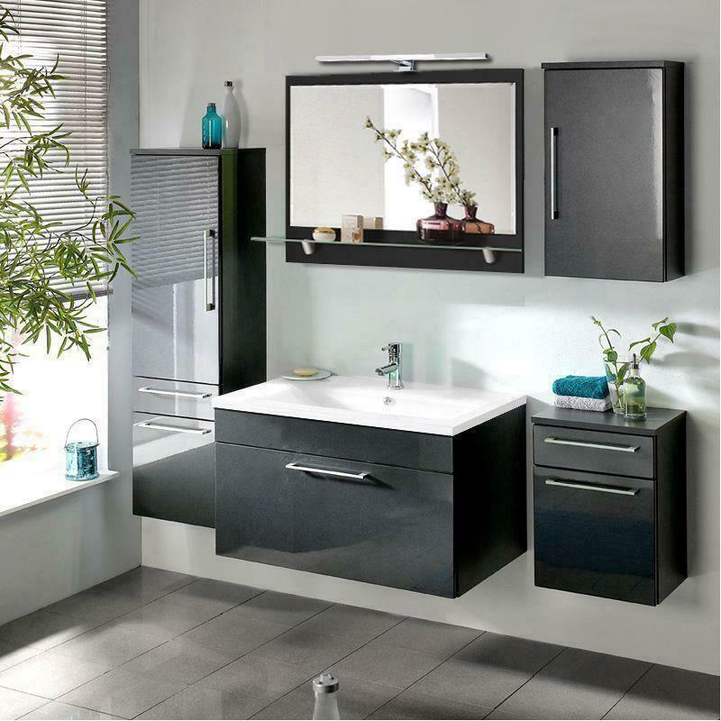 Komplett Badezimmermobel Set In Anthrazit 90 Cm Waschtisch Led Spiegel Bad Mobel Ebay In 2020 Badezimmermobel Set Waschtisch Led Spiegel