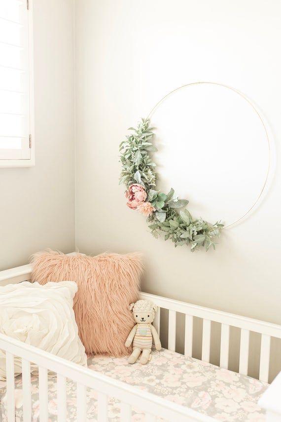 Photo of Flower Hoop Wreath, Gold Metal Hoop, Nursery Decor, Hoop Wreath, Flower Hoop, B …