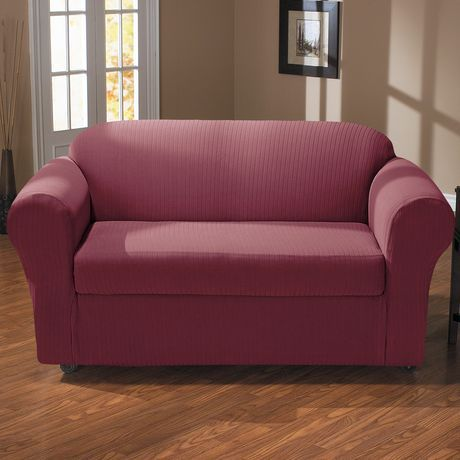 Awesome Surefit Sure Fit Spencer Stretch Loveseat Slipcover Wine 1 Uwap Interior Chair Design Uwaporg