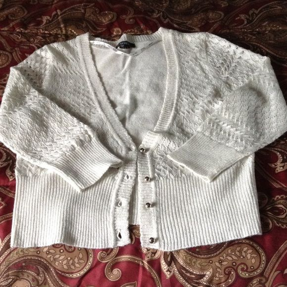XOXO Silver pretty cardigan Junior large silver sweater with silver threading throughout and silver buttons XOXO Sweaters Cardigans