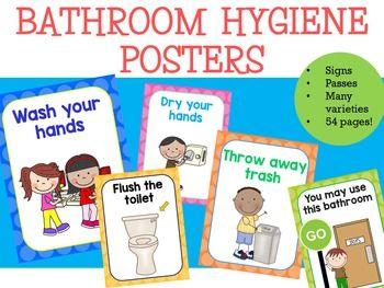 Bathroom Signs For Kindergarten bathroom hygiene posters - two tone polka dots   bathroom pass