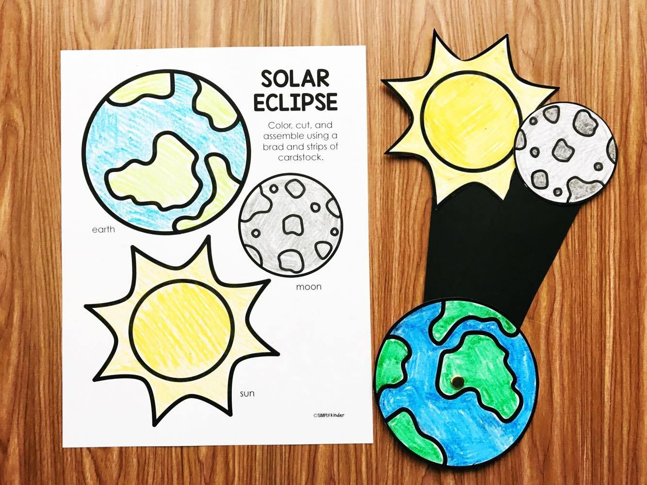 Colouring sheets of the lunar eclipse - Solar Eclipse Activities For Preschool Kindergarten And First Grade A Fun Solar Eclipse