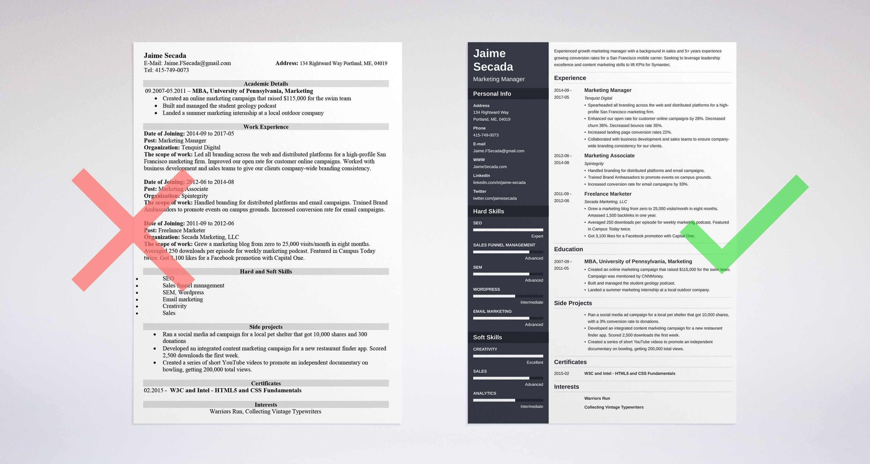 Bad And Good Resume Examples Learn How To Make A