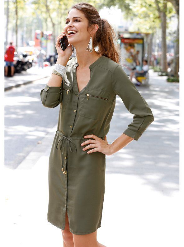 05452c227a vestido camisero en color caqui