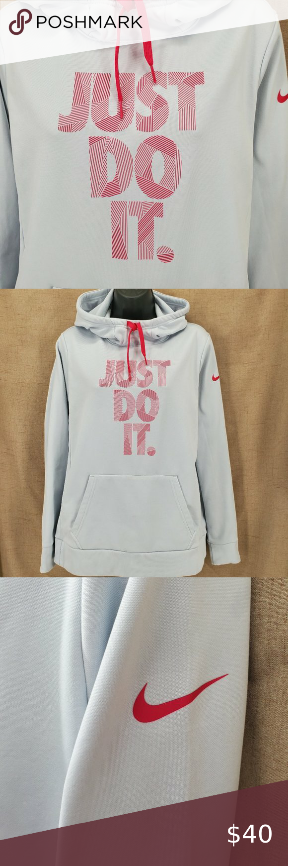 Nike Just Do It Dry Fit Hoodie Lt. Gray/Pink Sz M in 2020