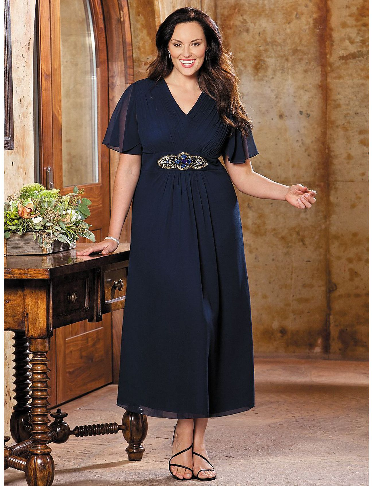 This Plus Size Empire Sequin Dress By Ulla Popken Is Absolutely
